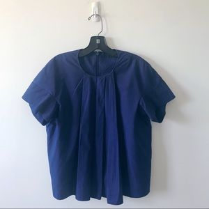 COS Blue Cotton Short sleeve Swing Trapeze Shirt